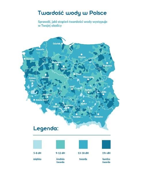 mapa twardości wody w gospodarstwach domowych w Polsce